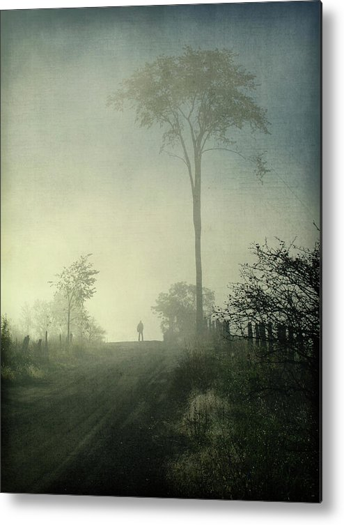 Tranquility Metal Print featuring the photograph Silhouette Of A Man In Fog by Francois Dion