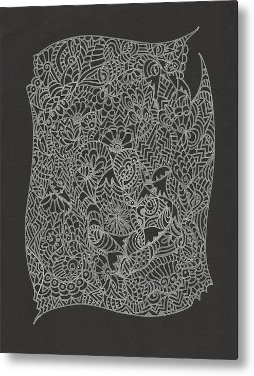 Black Silver Lace Abstract Doodle Art Design Intricate Delicate Metal Print featuring the drawing Silver Lace by Merle Barge