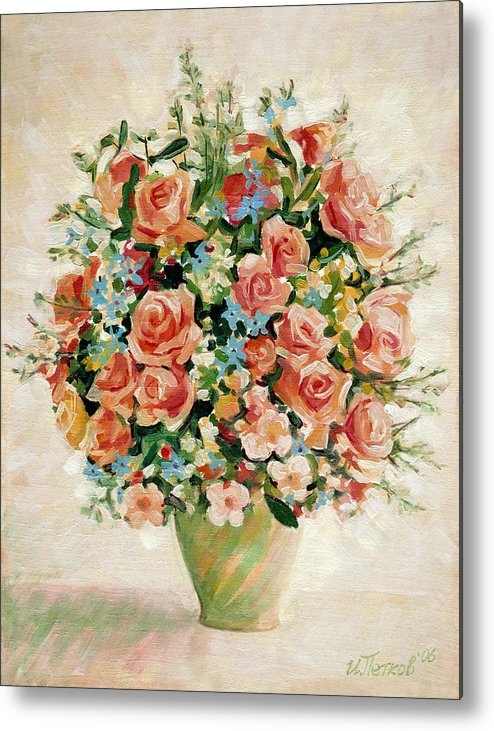 Flowers Metal Print featuring the painting Still Life with Roses by Iliyan Bozhanov