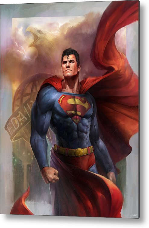 Superman Metal Print featuring the digital art Man of Steel by Steve Goad