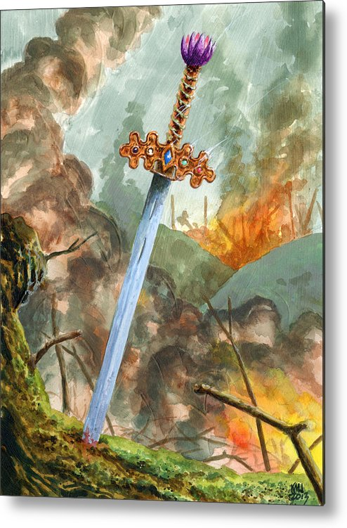 Magic The Gathering Metal Print featuring the painting Sword of Magic by Ken Meyer jr