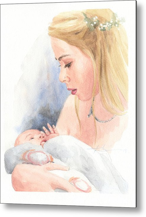 <a Href=http://miketheuer.com Target =_blank>www.miketheuer.com</a> Teen And Baby Sister Watercolor Portrait Metal Print featuring the drawing Teen And Baby Sister Watercolor Portrait by Mike Theuer