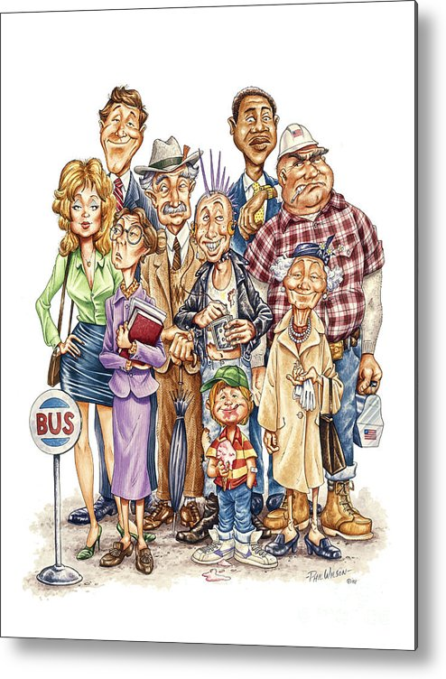 Caricatures Metal Print featuring the painting The Bus Stop by Phil Wilson