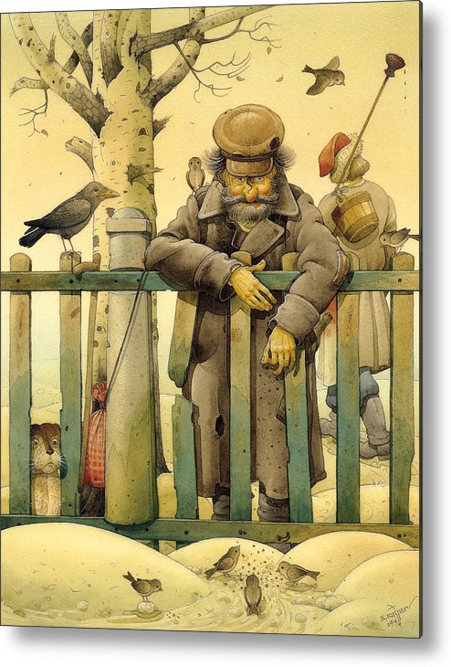 Russian Figures Winter Birds Dog Ladscape Holiday Christmas Metal Print featuring the painting The Honest Thief 02 Illustration for book by Dostoevsky by Kestutis Kasparavicius