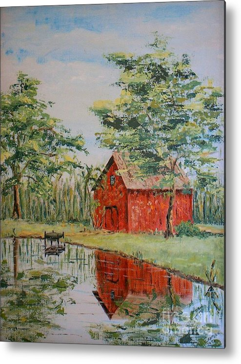 Red Shed Building Metal Print featuring the painting The Shed - SOLD by Judith Espinoza