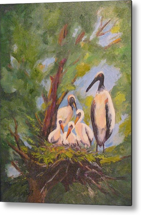 American Stork Metal Print featuring the painting The Stork Brought Them by Cecelia Campbell