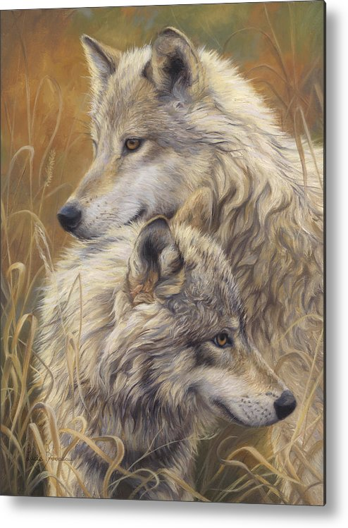 Wolf Metal Print featuring the painting Together by Lucie Bilodeau