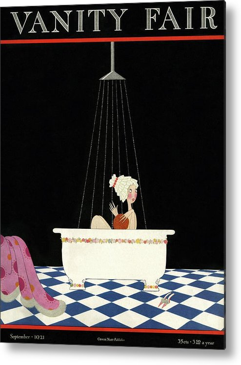 Illustration Metal Print featuring the photograph Vanity Fair Cover Featuring A Woman In A Bathtub by A. H. Fish