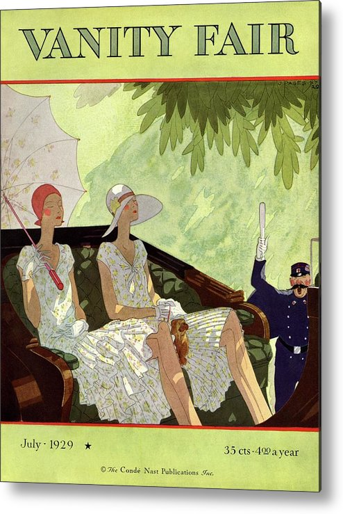 Illustration Metal Print featuring the photograph Vanity Fair Cover Featuring Two Women Sitting by Jean Pages