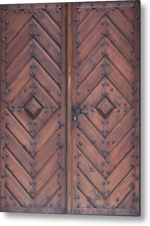 Material Metal Print featuring the photograph Vintage Wooden Brown Door Close-up by Bogdan Khmelnytskyi