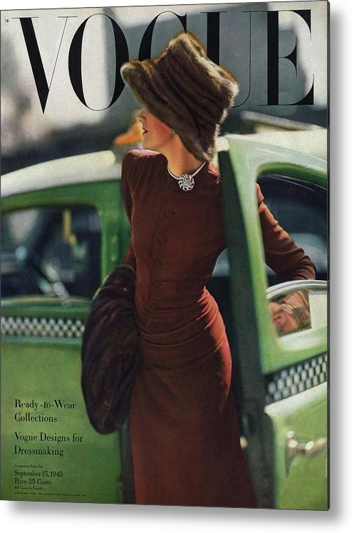 Auto Metal Print featuring the photograph Vogue Cover Featuring A Woman Getting by Constantin Joffe