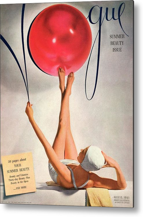 Fashion Metal Print featuring the photograph Vogue Cover Illustration Of A Woman Balancing by Horst P Horst
