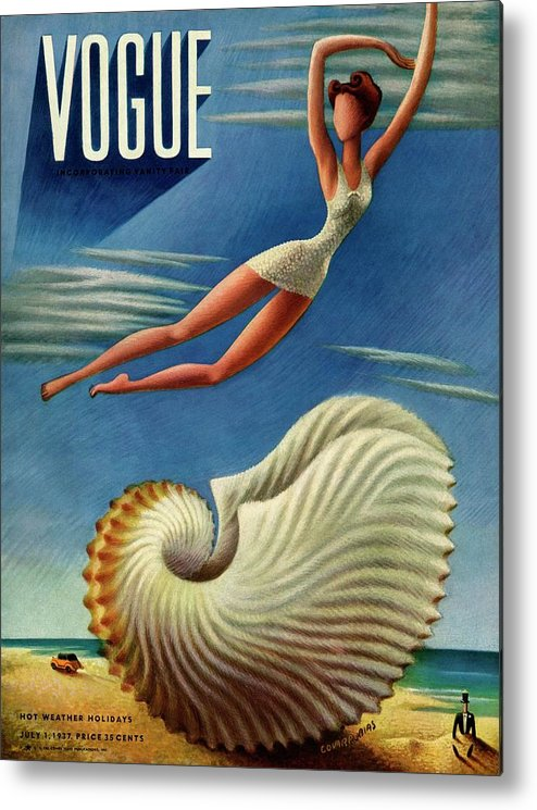 Illustration Metal Print featuring the photograph Vogue Magazine Cover Featuring A Woman by Miguel Covarrubias