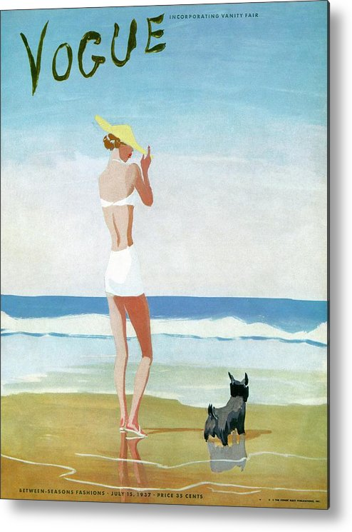 Animal Metal Print featuring the painting Vogue Magazine Cover Featuring A Woman On A Beach by Eduardo Garcia Benito