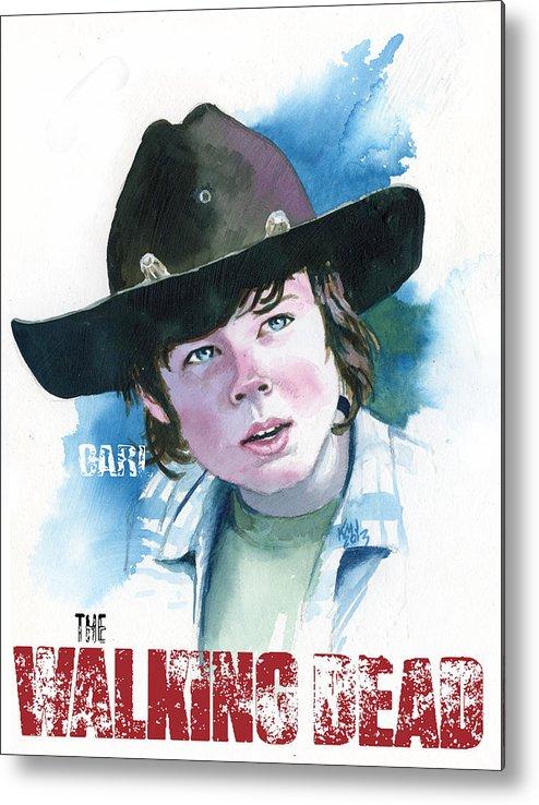 Walking Dead Metal Print featuring the painting Walking Dead Carl by Ken Meyer jr