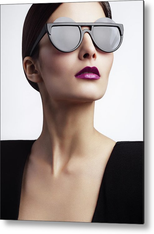 Cool Attitude Metal Print featuring the photograph Woman With Trendy Eyewear by Lambada