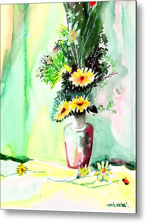 Flower Metal Print featuring the painting Yellow Flowers 1 by Anil Nene