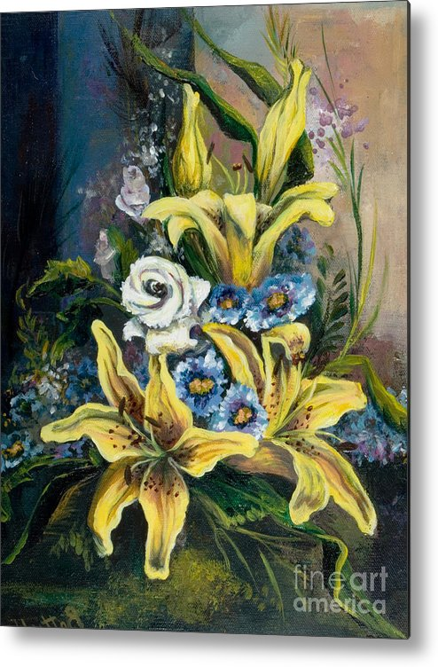 Originals Metal Print featuring the painting Yellow Lillies by Elisabeta Hermann