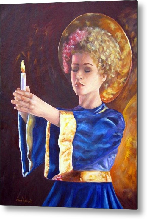 Portrait Metal Print featuring the painting Candlemass by Anne Kushnick