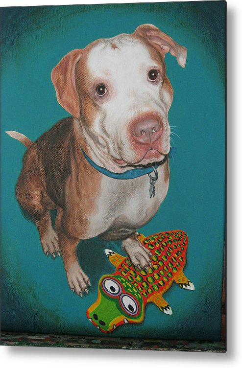 Dog Portrait Metal Print featuring the painting Custom Painted Pit Bull by Lana Cheng