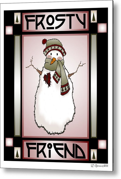 Frosty Metal Print featuring the digital art Frosty Friend Snowman 1 by Lynn Evenson