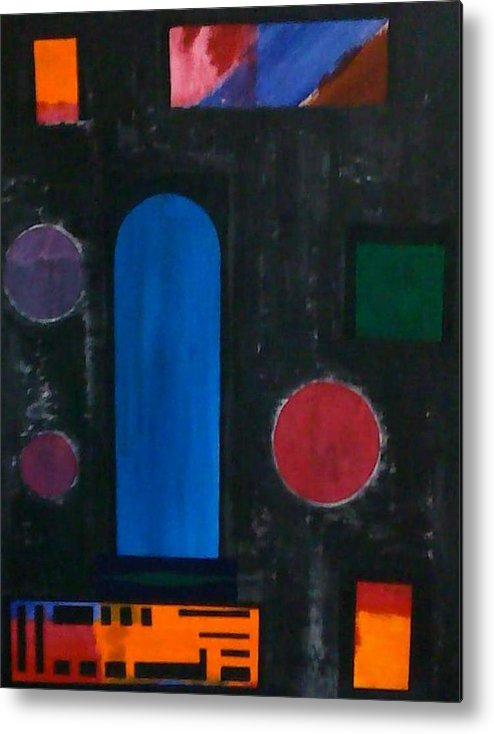 Geometrical Arrangement Metal Print featuring the painting No.330 by Vijayan Kannampilly