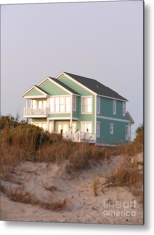 Taffy Colored Metal Print featuring the photograph Reflections from a Beach House by Beebe Barksdale-Bruner