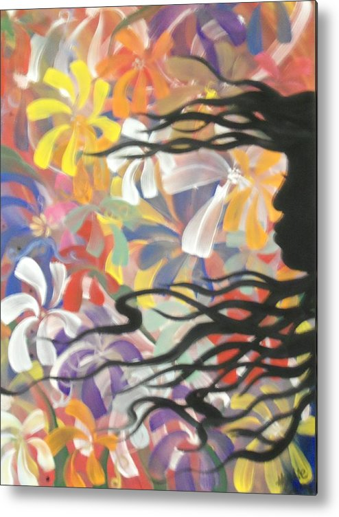 Shadow Metal Print featuring the painting Shadow Flower by Hollie Leffel