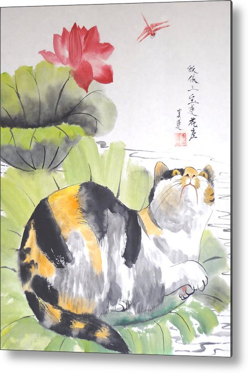 Cats Metal Print featuring the painting Siesta On The Lotus by Lian Zhen