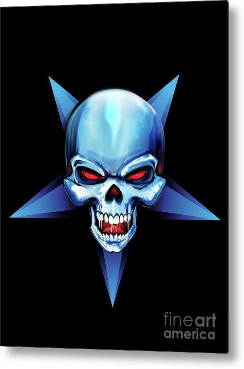 Skull Metal Print featuring the digital art Symbol Of Evil by Brian Gibbs