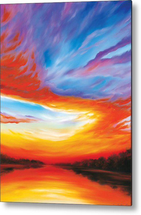 Sunrise; Sunset; Power; Glory; Cloudscape; Skyscape; Purple; Red; Blue; Stunning; Landscape; James C. Hill; James Christopher Hill; Jameshillgallery.com; Ocean; Lakes; Genesis; Creation; Quantom; Singularity Metal Print featuring the painting The Seventh Day by James Christopher Hill