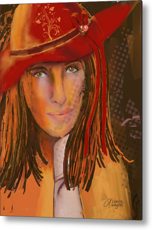 Woman Metal Print featuring the digital art Woman In The Red Hat by Arline Wagner