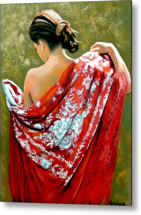 Red Metal Print featuring the painting aly by Jose Manuel Abraham