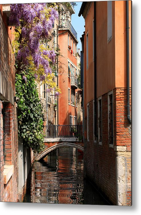 Venice Metal Print featuring the photograph Canal in Venice with Flowers by Michael Henderson