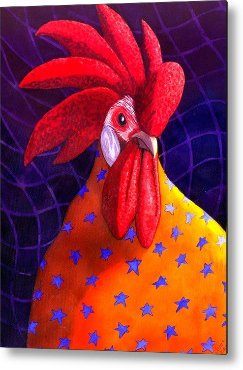 Rooster Metal Print featuring the painting Cock A Doodle Dude by Catherine G McElroy
