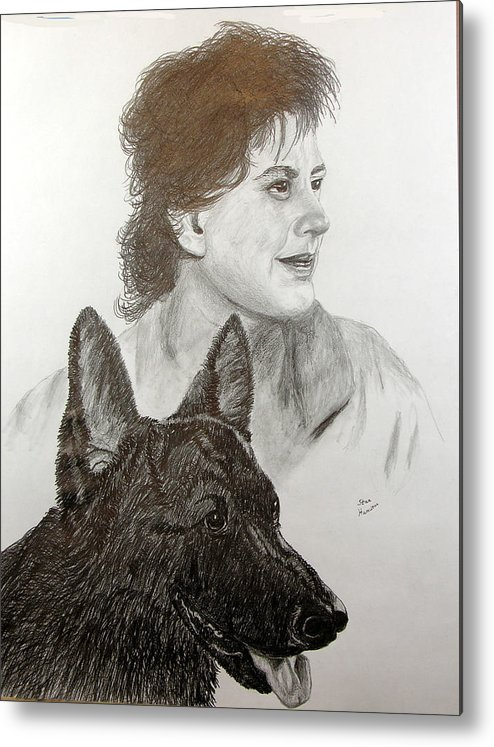 Pencil Metal Print featuring the drawing Kim and Saver by Stan Hamilton