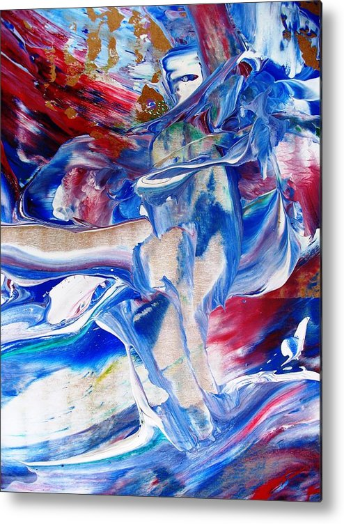 Abstract Metal Print featuring the painting Red White And Blue Migraine by Bruce Combs - REACH BEYOND