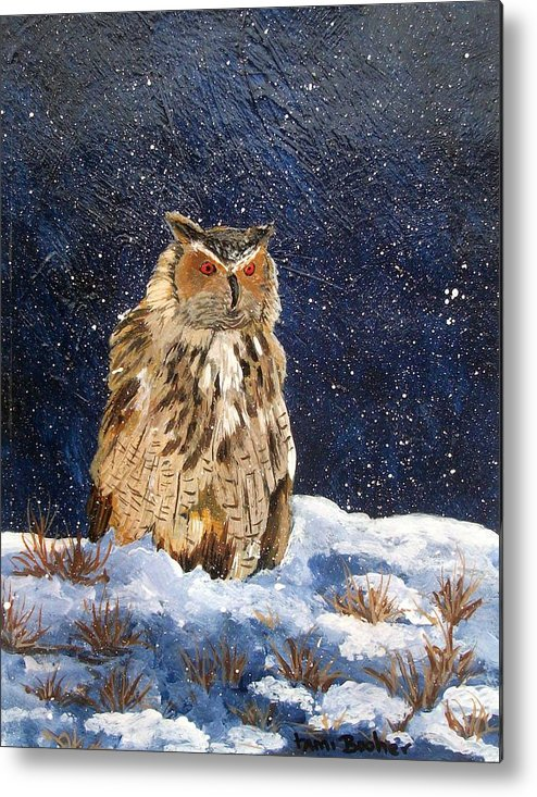 Owl Metal Print featuring the painting Siberian Eagle Owl by Tami Booher