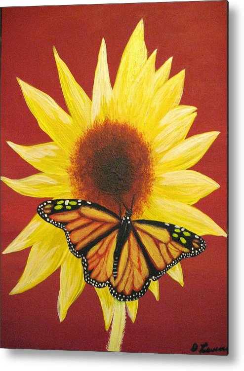 Sunflower Metal Print featuring the painting Sunflower Monarch by Debbie Levene