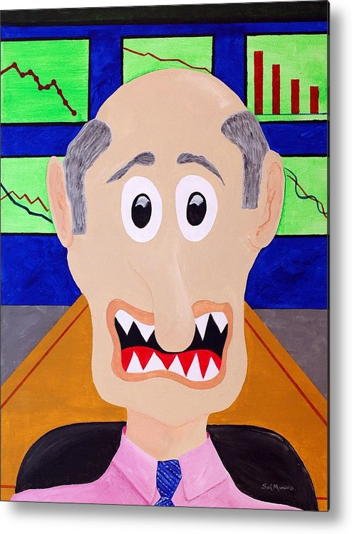 Financial Metal Print featuring the painting Trader by Sal Marino