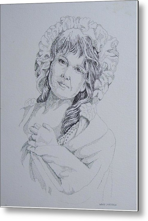A Historic Piece Using The Pointillist Style Metal Print featuring the drawing 1910 Lady by Wanda Dansereau
