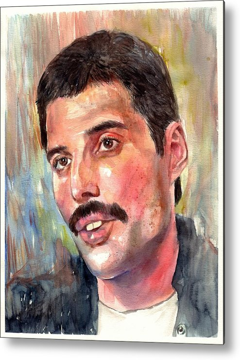 Freddie Metal Print featuring the painting Freddie Mercury portrait by Suzann Sines