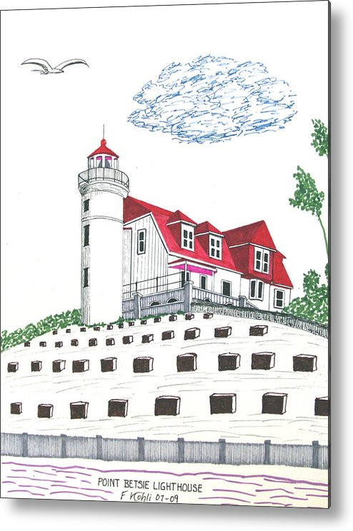 Lighthouse Art Metal Print featuring the drawing Point Betsie Lighthouse by Frederic Kohli