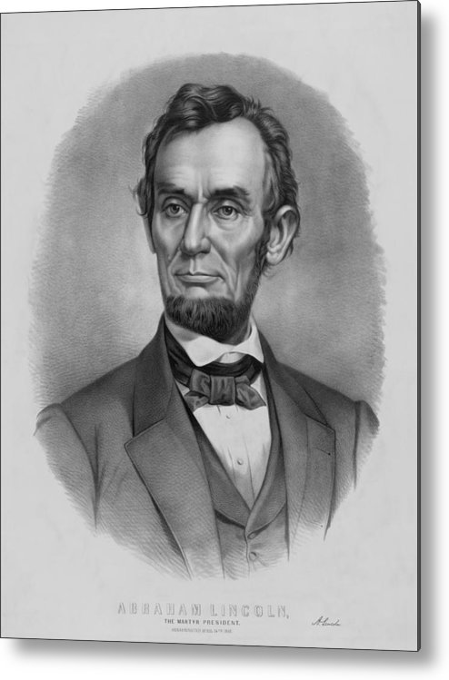 Abraham Lincoln Metal Print featuring the drawing President Lincoln by War Is Hell Store