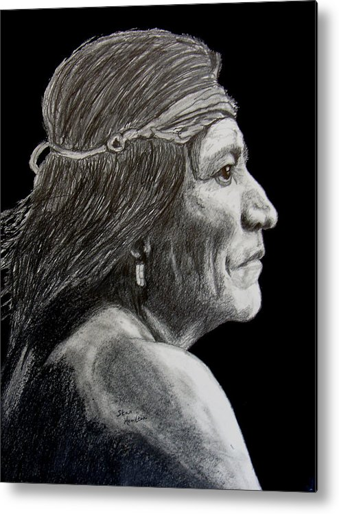 Pencil Metal Print featuring the drawing Unknown Indian VI by Stan Hamilton