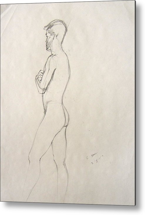 Figure Composition With Live Model Metal Print featuring the drawing Untitled 3 by Howard Stroman