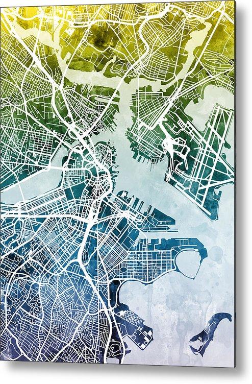Street Map Metal Print featuring the digital art Boston Massachusetts Street Map by Michael Tompsett