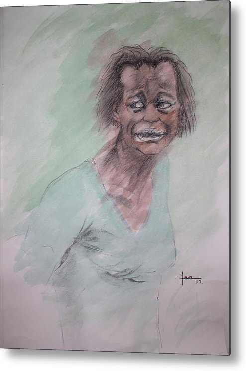 Portrait Metal Print featuring the drawing Untitled 7 by Victor Amor