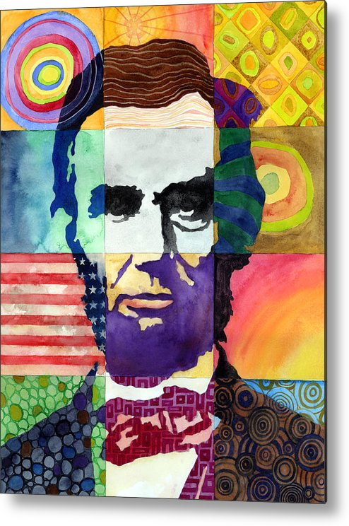 Abraham Metal Print featuring the painting Abraham Lincoln Portrait Study by Hailey E Herrera