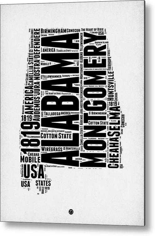 Alabama Metal Print featuring the digital art Alabama Word Cloud 2 by Naxart Studio